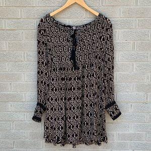 Free People Mini Boho Print Long Sleeve Dress